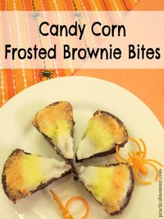 Candy Corn Frosted Brownie Bites - perfect for school parties and kid's after school snacks. I love how easy and cute these are, especially for someone who doesn't like the packed on sugar from real candy corn.