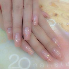 All pink jelly nails with powder design