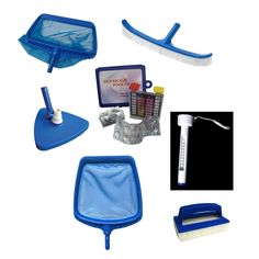 7-Piece Deluxe Swimming Pool (Blue) Kit - Vacuum Leaf Rake Brush Thermometer Test Kit Scrubbing Pad and Skimmer