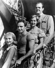 """A surprisingly smiling bunch: Vivien Leigh, Marlon Brando, Kim Hunter & Karl Malden in """"Streetcar"""""""