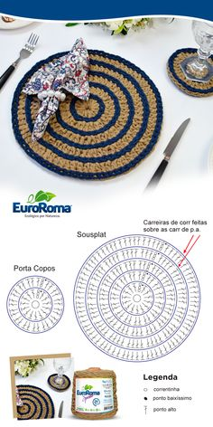 Sousplat decorativo, produzido pela professora Sandra Brum, utilizando o EuroRoma Spesso na cor Azul Marinho e Bege. Crochet Coaster Pattern, Crochet Mandala Pattern, Crochet Diagram, Crochet Chart, Crochet Patterns, Crochet Kitchen, Crochet Home, Knit Or Crochet, Patron Crochet