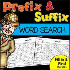 Prefix and Suffix Word Search Puzzles with a twist. Students will look at the pictures fill in the missing letters and find each word in the puzzle. Smart Board Activities, Word Work Activities, Writing Activities, Teaching Resources, Teaching Ideas, Esl Lessons, Reading Lessons, Prefixes And Suffixes, Word Search Puzzles