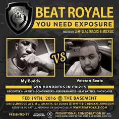 This Friday February 19th Who's Bringing Fire To #BeatBattleKing during Beat Royale. We have @Datz_My_Buddie  vs @VeteranBeatz  batting for the crown!! This epic night will be hosted by @MICxSIC and @JeffBlactracks doors open to the @Basement_EAV at 8:00pm. $10 At The Door  VIP Battle and Performance Registration:  http://ift.tt/20MJ1j3 #BEATRoyale #DynamicProducer #SavageFam#JayForce #CountryRapTunes #AlaskanAlkalineGlacierWater #You42 #BeatzandLyricsShow #SESAC #BeatersGear #DZMG…