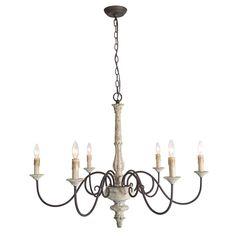 Ophelia & Co. Truitt 6 - Light Candle Style Classic / Traditional Chandelier with Crystal Accents French Country Chandelier, Farmhouse Chandelier, Rustic Chandelier, Farmhouse Lighting, Chandelier Lighting, Kitchen Chandelier, Kitchen Lighting, Chandelier Makeover, Paladin