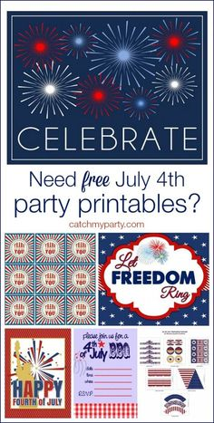 FREE July 4th Party Printables   CatchMyParty.com