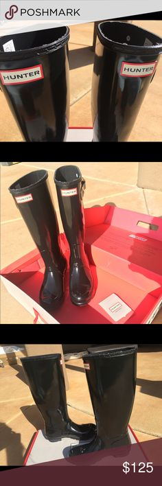 Moved back to AZ from AL & have no use for them. Size 7 Women's Original Tall Gloss Rain Boots (worn only twice) & comes with hunter box and papers Hunter Boots Shoes Winter & Rain Boots