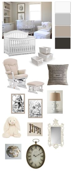 Alice and Wonderland / Through the looking Glass inspired baby nursery for baby girl! All white, beige, tan, greys.