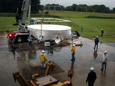 After enduring searing temperatures during its first flight test, Orion's heat shield is preparing to cool off at the Hydro Impact Basin at NASA Langley Hampton, Virginia. The 16.5-foot diameter heat shield arrived at Langley in the early hours of June 4, 2015.  Engineers will integrate the heat shield with an Orion crew module mockup and simulate scenarios for parachute landings with different wind conditions and wave heights the spacecraft could experience when landing in the Pacific…