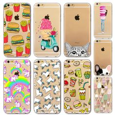 Silicone macio limpar fina tpu phone case capa para apple iphone 6 6 S 4.7 Polegada Adorável Banana Fruta Melancia Caso de Telefone Claro