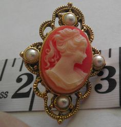 Vintage 1960s Pin Back Cameo Rose/gold color NICE!