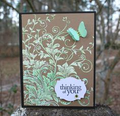 "By Pam W. Merwin. Uses Hero Arts ""Leafy Vines"" stamp. Stamped on kraft in VertsaMark & embossed with white powder. Used Prismacolor penvils to color the stamped image. Added butterfly & sentiment."