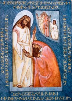 "Olga Moroz - Ukraine Christ appearing to Mary Magdalene & the Myrrhbearers - contemporary Myrrhbearing women icon. """