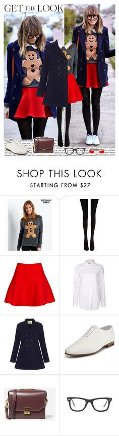 """""""All I Want For Christmas Is Yooou"""" by ana-caroline-maia ❤ liked on Polyvore featuring beauty, Aéropostale, Wolford, Pull&Bear, Closed, Yumi, Yves Saint Laurent, CHARLES & KEITH, Ray-Ban and Hermès"""