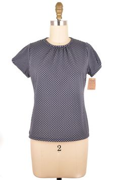 Lands' End Black and White Polka Dot Short Sleeve Top Size L   ClosetDash #fashion #style #tops #blouses