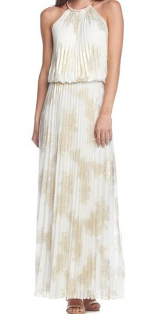 You'll shine at the reception in this gold foil dress!