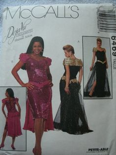 McCall's 6469 Misses Formal Dress in Two Lengths Deja Vu Exclusives by Sharon Atkin, Petite-able Sewing Pattern Size ... Costume Patterns, Sewing Patterns, Costumes, Formal Dresses, Fashion, Dresses For Formal, Moda, Dress Up Clothes, Formal Gowns