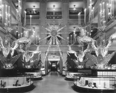 The main floor at Marshall Field's, decorated for the holidays, 1941, Chicago.