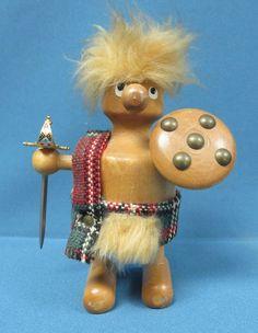 "Vintage 1960s Mid Century 6"" Wooden Danish Viking Figure Character"