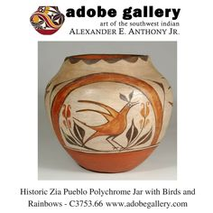 Historic Zia Pueblo Polychrome Jar with Birds and Rainbows - C3753.66 #adobegallery #SouthwestIndianPottery #ZiaPueblo #Historic #Pottery #PuebloPottery #SouthwestIndianArt #SantaFeNM #VisitCanyonRoad