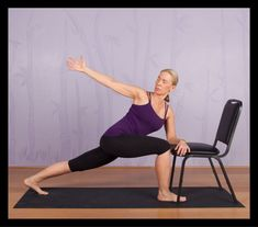 Exercise A modified version of the extended side angle yoga pose using a chair. - Counteract the effects of aging on your body with these expert-recommended chair yoga poses. Yoga Fitness, Senior Fitness, Physical Fitness, Video Fitness, Iyengar Yoga, Gym Douce, Yoga Training, Strength Training, Chair Exercises