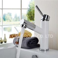 77.10$  Buy now - http://ali9ms.worldwells.pw/go.php?t=1928365883 - Free Shipping White Baking Paint Pull Out Basin Tap Mixer Deck Mounted Basin Mixer Lavatory Faucet torneira banheiro 77.10$