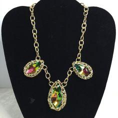 Fashion Statement Trendy Big Watermelon Rhinestone Multi Stone Goldtone Necklace #Unbranded #Statement on auction $4.99