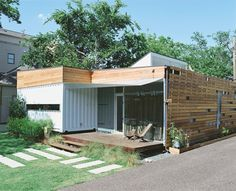 Container home with raised roof. (Cordell House.)