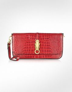 Roberto Cavalli Class - Red Croco-Embossed Leather