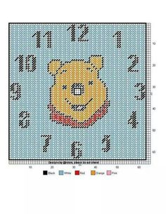 Pooh bear clock Plastic Canvas Crafts, Plastic Canvas Patterns, Perler Bead Emoji, Canvas Learning, Clock Craft, Disney Canvas, Peler Beads, Winnie The Pooh Friends, Stuffed Animal Patterns