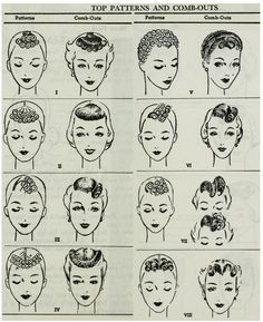 Standard Textbook of Cosmetology (1938, 1954, 1959, 1962): Pin curl patterns and comb-outs