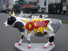 Cow parade by historygradguy Cow Pictures, Cow Pics, Cow Parade, Milk Shop, Artist And Craftsman, Sculptures, Sculpture Art, Animal Statues, Cow Art