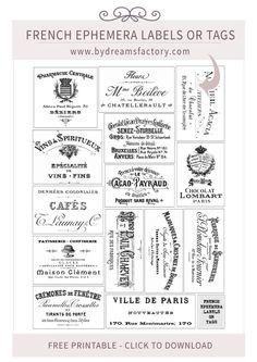 French Ephemera Labels or Tags - http://www.bydreamsfactory.com