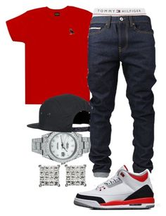 """""""Disrespectful- Killa Cedd"""" by crenshaw-m4fia ❤ liked on Polyvore featuring Rolex, October's Very Own, Tommy Hilfiger, men's fashion and menswear"""