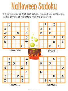 Have a frightfully fun holiday with our Halloween sudoku puzzle for kids. Free for you to print and enjoy. Includes four Halloween words. Halloween Puzzles, Halloween Math Worksheets, Halloween Words, Halloween Activities, Holidays Halloween, Halloween Fun, Math Activities For Kids, Spelling Activities, Puzzles For Kids