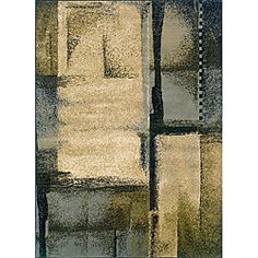 @Overstock - A striking abstract design styles this machine-woven rug with durable stain resistant construction in shades of blue, green and beige.  $68.99