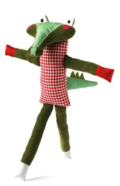 doudou crocodile en velours côtelé vert, tissu à pois rouges - graphic croco, green ribbed velvet, red dots pattern