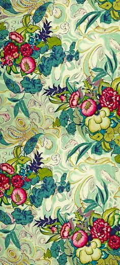 love these colors together - floral wallpaper. source unknown