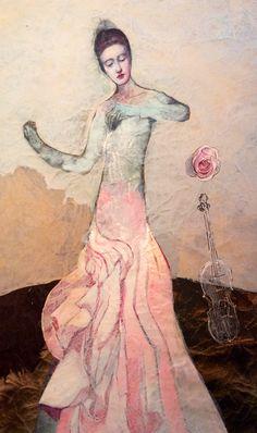 Katarína Vavrova/ Violinist/ painting on japan paper
