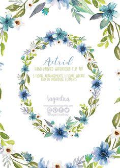 Marco Flores en Acuarela, Clipart PNG, pintadas a mano, arreglo de flores, marcos, para invitaciones, despedida de soltera, tarjetas, blog