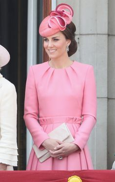 Kate Middleton Photos Photos - Catherine, Duchess of Cambridge looks out from the balcony of Buckingham Palace during the Trooping the Colour parade on June 17, 2017 in London, England. - Trooping the Colour 2017