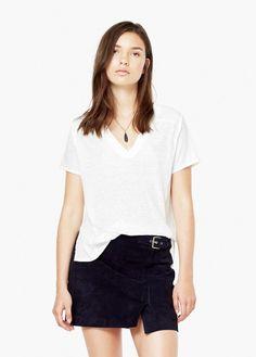 Camiseta combinada lino   MANGO