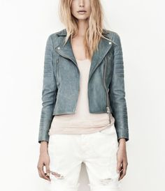 leather in blue (almost looks like a denim jacket substitute)