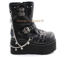 DEMONIA Womens Punk Goth Platform Ankle Boots w/Skulls