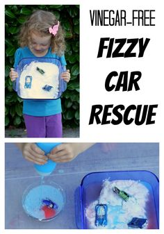 These cars are SUPER stuck!  Free them with some fizzy fun - no vinegar involved!  From Fun at Home with Kids