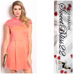 Neon Coral Stunning Dress Ever bought a dress that you loved so much you didn't want to take it off?? THIS is that dress! This dress features a sheer lace high neckline and yoke. This dress has a fit and flare silhouette. Perfect with a pair of strappy heels! Don't miss out! Comes in S,M ⭐️Small measures 26 inches in the bust Dresses
