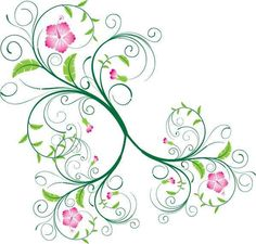 swirl vine with flowers