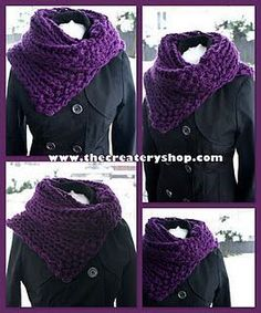 The Createry Shop: Free Easy Chunky Collar Cowl Knitting Pattern - Free Knit Pattern Knit Or Crochet, Crochet Scarves, Crochet Shawl, Crochet Crafts, Chunky Crochet, Crochet Granny, Loom Knitting, Knitting Patterns Free, Free Knitting