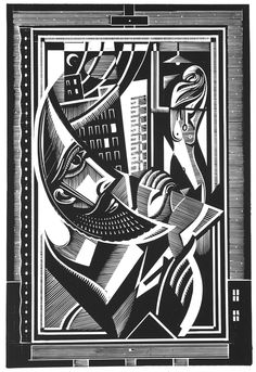 Stephen Alcorn ~ The Artist of the Missing (image 1) ~ Relief-block print, 19.5 x 13 inch ~ For the novel by author Paul LaFarge, Alcorn created 11 illustrations in his trade mark chiaroscuro, intricate patterning and inversion of conventional perspective.