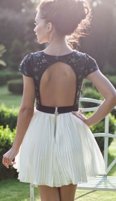 Open Back Top With Pleated Skirt