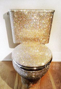 Gold B-Dazzled Toilet #luxury #goldtoilet #custom
